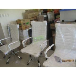 HIGHBACK EXECUTIVE CHAIR WHITE LEATHERETTE--KHOMI