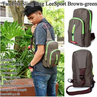 Tas Cowok Sling Bag LeeSport brown-green