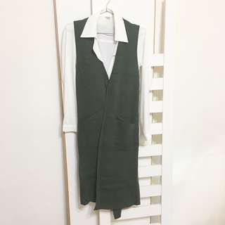 【衣服】墨綠色毛衣背心外套#換季五折