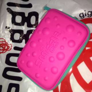 Smiggle hardtop bubble pencil case (pink and blue)