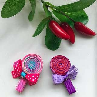 Handmade Grosgrain Ribbon sculpture lollipop toddler hair clip/ hairclip/ hair bow/ hairbow