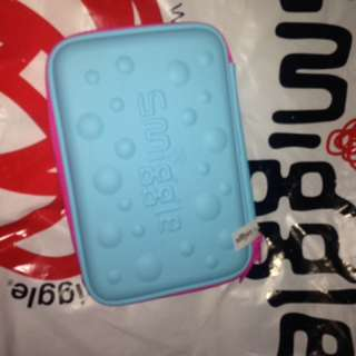 Smiggle hardtop pencil case (blue and pink)