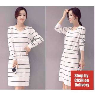 White stripes drawstring dress
