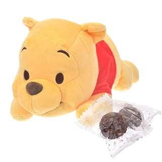 🇯🇵日本代購 迪士尼 Disney 小熊維尼 Winnie the Pooh 情人節 公仔連朱古力 係pat pat 開拉鍊 好得意