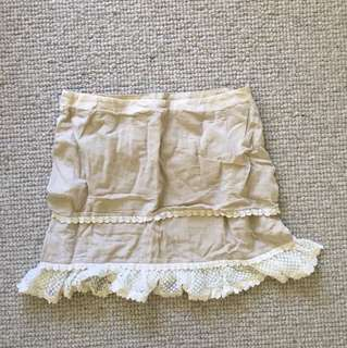 Beige lace skirt