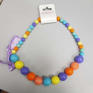 Rainbow Beads Necklace with Purple Ribbon
