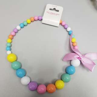 Rainbow Beads Necklace with Pink Ribbon
