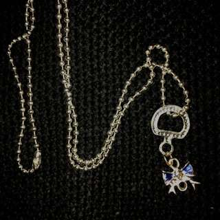 Blue Ribbon Charm Necklace