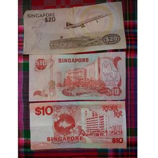 Old Singapore notes $10×2 & $20×1