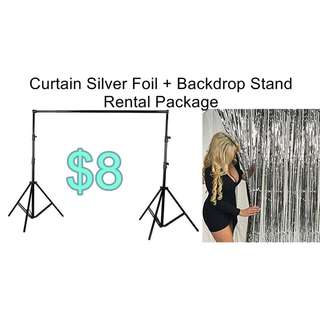 Silver Curtain Foil  Backdrop Stand Package