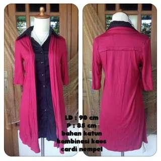 Mini dress red hem
