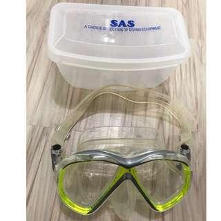 SAS 螢光綠 潛水 浮潛 面鏡 9成新