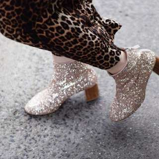 Office sequin boots