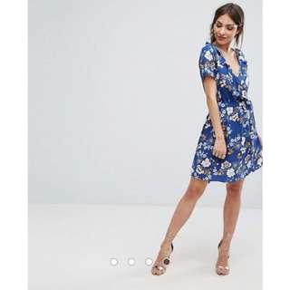 ASOS Wrap Front Floral Print Skater Dress