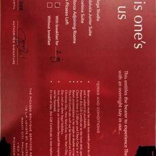 Picasso Malaga Studio Room Makati 1 night stay voucher