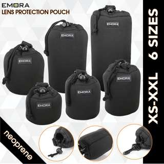 Emora Neoprene protective camera lens pouch case with quick release hook, waist belt loop and fastener puller