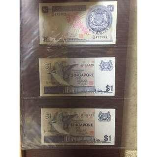 Old Singapore $1 bills