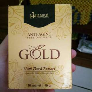 "HANASUI "" Anti Aging Peel Of Mask "" GOLD Bukan Masker Lumpur Yang Hitam"