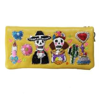 【預購】日本 刺繡品牌 骷髏  怪奇 可愛 森林系 長夾 皮夾 錢包