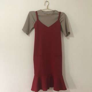 Red Mermaid Dress with Inner