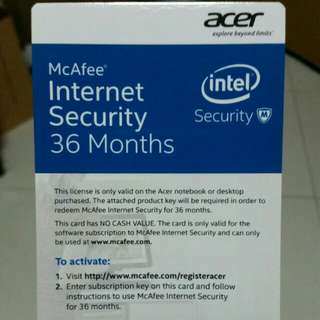 36 Months McAfee Internet Security