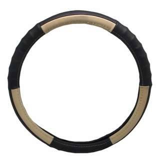 Type S SW02482EN-6 Real Leather Steering Wheel Cover (Black/Beige)
