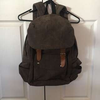 Brown Flap Canvas Backpack