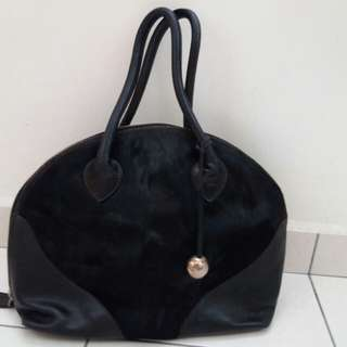 Authentic Furla fur & leather hand carry