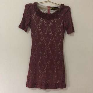 Purple Embroidery Mini Dress