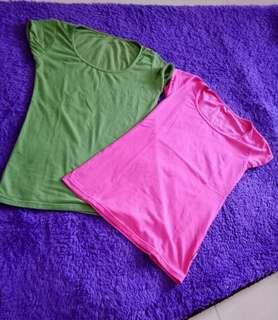 Tshirt polos wanita 2 potong 25.000