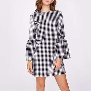 casual sexy plaid pattern flare sleeve party mini dress