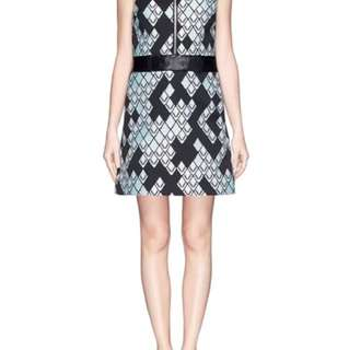 Phillip Lim diamond print dress with leather belt, Sz 0