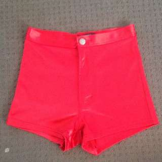 Forever 21 Red Stretchy High Waisted Shorts