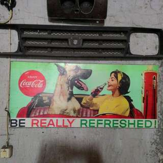 poster coca cola laminated doff, on plywood, Rp450rb  aja..100x44cm..