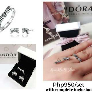 Pandora Bow Ring and Earrinhs