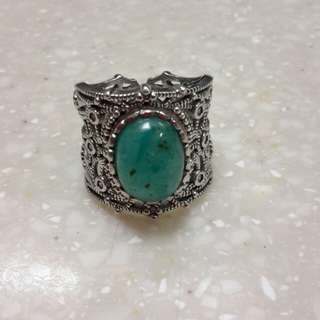 Hand made macachite 925 silver ring,with natural chrysocolla gems silica stone,