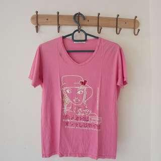 baju kaos wanita pink besar bahan karet bagus
