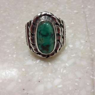 Vintage silver handmade navajo turquoise stone ring