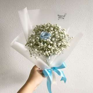 Preserved Blue rose with white baby breath