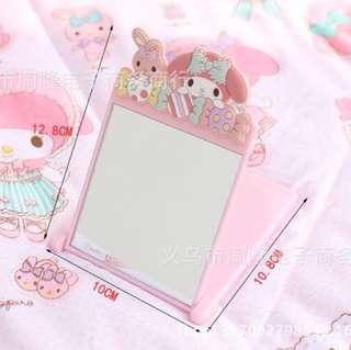 🚚 Hello Kitty化妝鏡Melody攜帶式梳妝鏡 鏡子 #新春八折