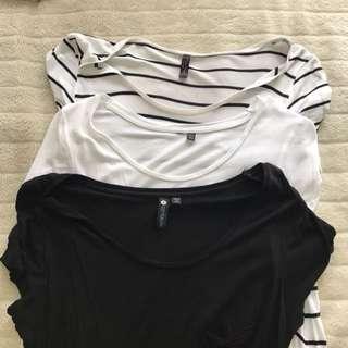 MISS SHOP & COTTON ON plain white, black and striped tshirts
