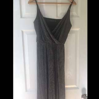 3/4 leg black and silver jumpsuit