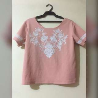 Pink blouse with floral print
