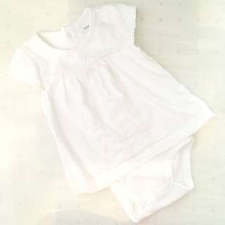 Charity Sale! Authentic Carter's White Onsie Fancy Size 12 months plus free Onesie