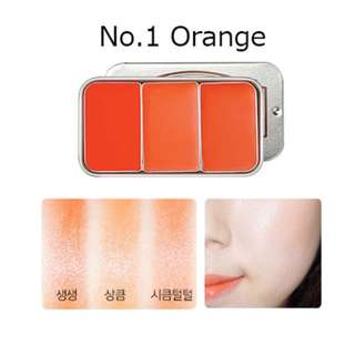Brand New SKINFOOD Fresh Fruit Lip & Cheek Trio (#1 Orange)