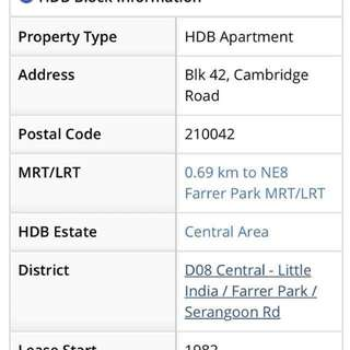 Prime Area!!! 4rm HDB Flat For RENT
