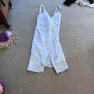 Shakuhachi white linen wrap dress