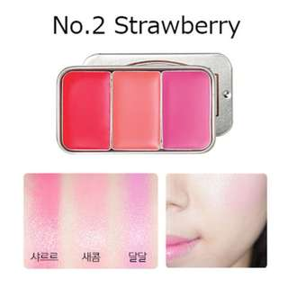 Brand New SKINFOOD Fresh Fruit Lip & Cheek Trio (#2 Strawberry)