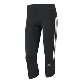 ADIDAS Climalite Response 3/4 Leggings Black White Crop Capri Sports Running Gym