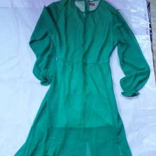 Slit greeny long dress